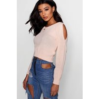 Cut Out Shoulder Crop Jumper - nude