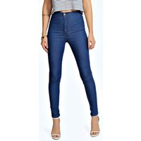 High Waisted Skinny Jeans - mid blue