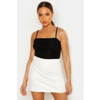 Faux Leather A Line Mini Skirt - ecru