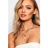 Bar And Coin Layered Necklace - silver