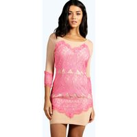 Boutique Eyelash Bodycon Dress - pink