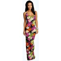 Womens Tropical Scoop Neck Maxi Dress - multi - 8, Multi