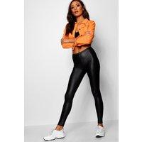 Womens Wet Look Pocket Back Leggings - black - 18, Black