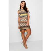 Aztec Print Open Shoulder Shift Dress - multi