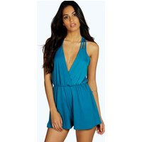 Strappy Wrap Front Playsuit - teal