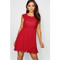 Womens Boutique Corded Lace Pleated Skater Dress - Red - 10, Red