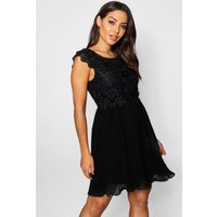 Womens Boutique Corded Lace Pleated Skater Dress - black - 10, Black