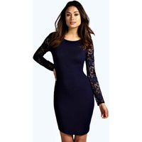 Lace Sleeve Bodycon Dress - navy