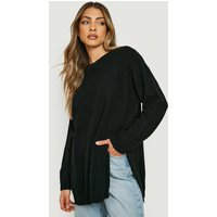 Womens Side Split Moss Stitch Tunic Jumper - Black - S, Black