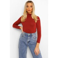 Womens Basic roll/polo neck Long Sleeve Top - orange - 14, Orange