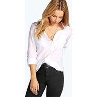 White Cotton Button Through Shirt - white