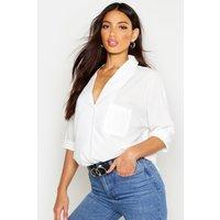 Rever Collar Oversized Shirt - white