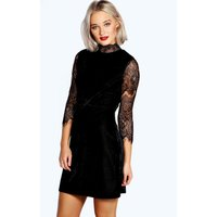 High Neck Lace and Velvet Bodycon Dress - black