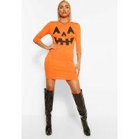 Womens Pumpkin Print Halloween Bodycon Dress - orange - 6, Orange