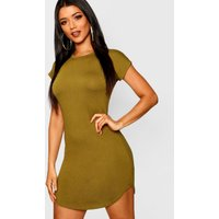 Womens Basic Curved Hem T-Shirt Dress - green - 6, Green