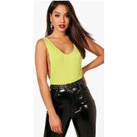 Womens Basic Low Side Scoop Bodysuit - green - 6, Green