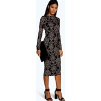 Printed Midi Dress - black