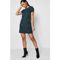 Printed Shift Dress - teal