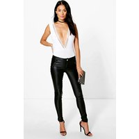 Panelled Coated PU Trousers - black
