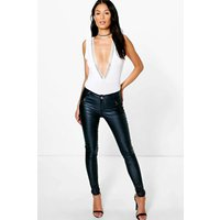 Panelled Coated PU Trousers - navy