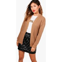Edge To Edge Grungy Cardigan - camel
