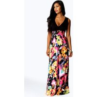 Womens Petite Kiera Rose Print Maxi Dress - black - 14, Black