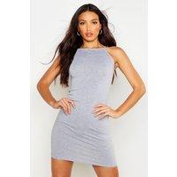 Womens 90s Neck Mini Bodycon Dress - grey - 10, Grey