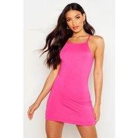Womens 90s Neck Mini Bodycon Dress - Pink - 10, Pink