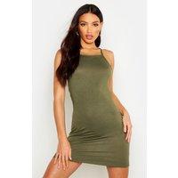 Womens 90s Neck Mini Bodycon Dress - green - 10, Green