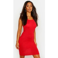Womens 90s Neck Mini Bodycon Dress - red - 10, Red