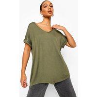 Womens Oversized Boyfriend V Neck T-Shirt - green - M/L, Green