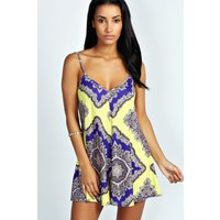 Womens Large Baroque Swing Playsuit - yellow - 8, Yellow
