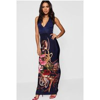 Boarder Print Halter Neck Maxi Dress - navy