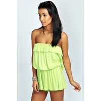 Bandeau Ruffle Jersey Playsuit - lime