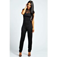 Caged Neck Sleeveless Jumpsuit - black