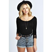 Crochet 3/4 Sleeve Top - black