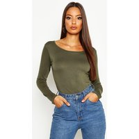 Womens Basic Round Neck Long Sleeve Top - green - 14, Green