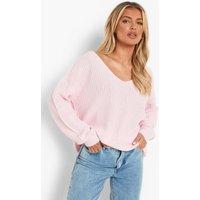 Womens Oversized V Neck Jumper - Pink - M/L, Pink
