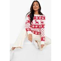 Reindeers And Snowflake Christmas Jumper - cream