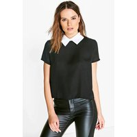 Contrast Collar Blouse - black