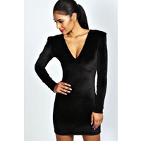 Velvet Plunge Neck Bodycon Dress - black