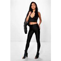 Pocket Back High Waist Disco Pants - black