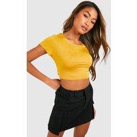 Womens Basic Short Sleeve Crop Top - Yellow - 8, Yellow