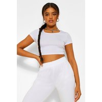 Womens Basic Short Sleeve Crop Top - White - 12, White