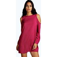 Solid Colour Open Shoulder Shift Dress - berry