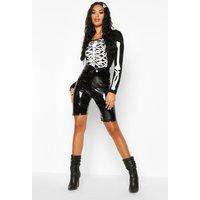 Womens Halloween Skeleton Print Bodysuit - Black - 8, Black