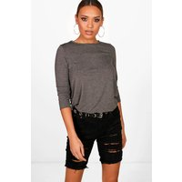 Long Sleeved Top - charcoal