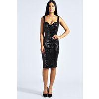Sequin Fitted Cups Midi Dress - black