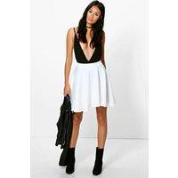 Womens Basic Scuba Skater Skirt - white - 12, White