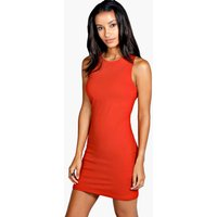 Racer Front Jersey Bodycon Dress - red